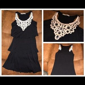 Maurices Embroidered Black Knit Dress